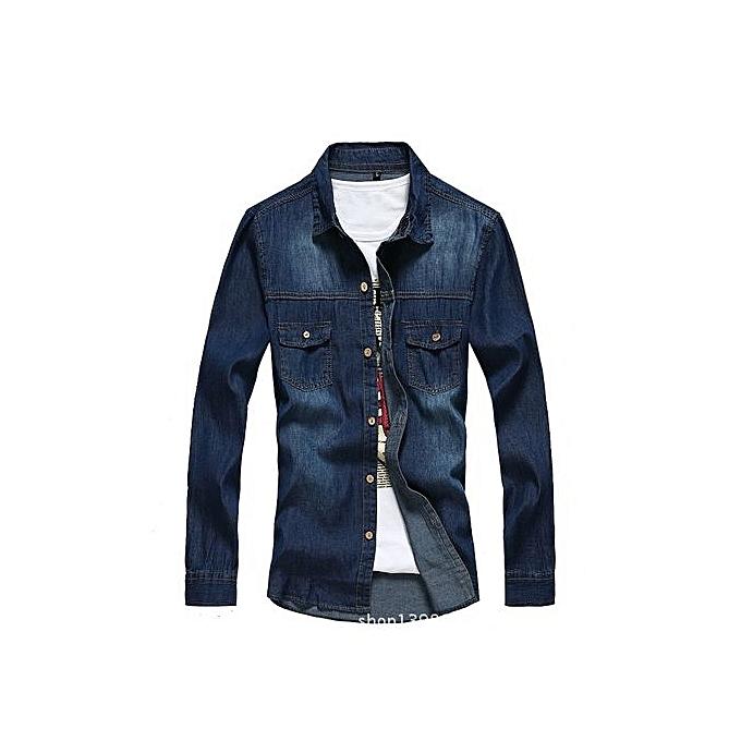 Generic Korean Version Of Spbague And Autumn Hommes& 039;s Long-sleeved Shirt Solid Couleur Slim Lapel Thin Denim Shirt Hommes& 039;s Décontracté Wild Denim veste à prix pas cher