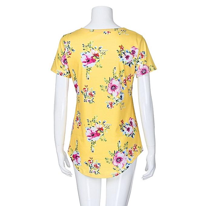 Generic Generic mode femmes manche courte O-Neck jaune Floral Print hauts chemisier Shirt Tee A1 à prix pas cher