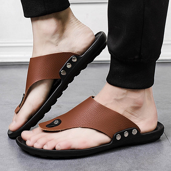 Fashion jiuhap store Men Summer Rome Flip Flop Beach Slipper Comfortable T-Strap Open Toe Slipper à prix pas cher