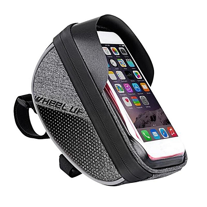 UNIVERSAL Wheelup Waterproof Frame Handlebar Bag Pouch 6'' Phone Case Holder Bike Bicycle noir à prix pas cher