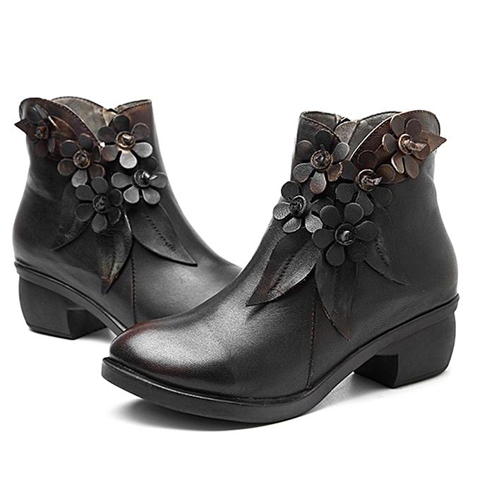 Fashion SOCOFY Sooo Comfy Vintage Handmade Floral Fashion WoHommes WoHommes WoHommes  Ankle Leather Boots à prix pas cher  | Jumia Maroc b03f13