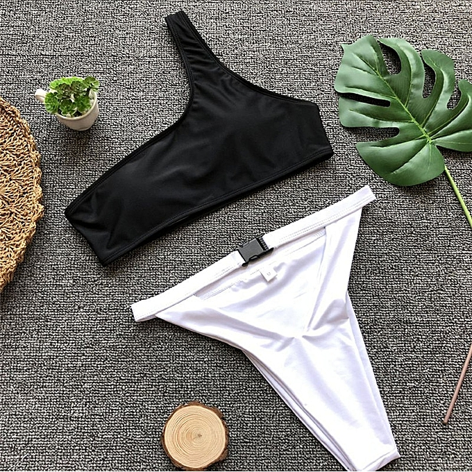 Autre rose One-Shoulder Bikini Push Up Sexy maillot de bain Bathing Suit nouveau Buckle maillot de bain femmes High Waist plagewear Bathing Suit Biquini JY-M( 1061-1) à prix pas cher