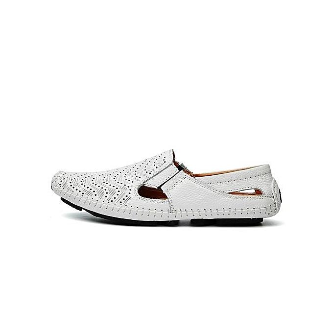 HT  's Cut-Out Leather Loafer Flats Comfy cher Driving Shoes -White à prix pas cher Comfy  | Jumia Maroc da6792