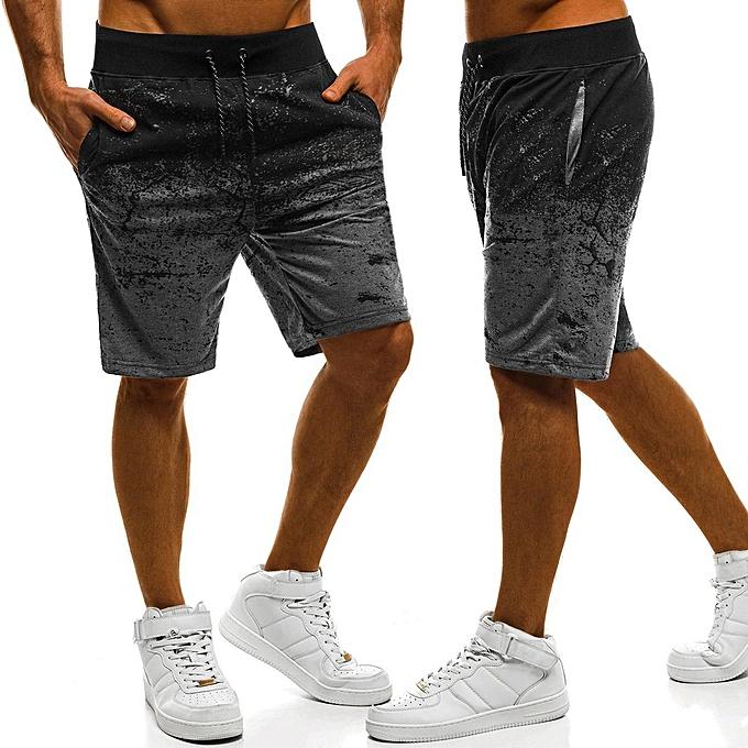 Fashion Mens Casual Summer Sport Joggers Fitness Print Drawstring Short Pants Trousers à prix pas cher