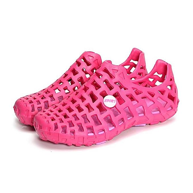 Fashion Fashion Big Taille Breathable Hollow Out Pure Couleur Flat Casual Beach Sandals Slides femmes Men chaussures-EU à prix pas cher