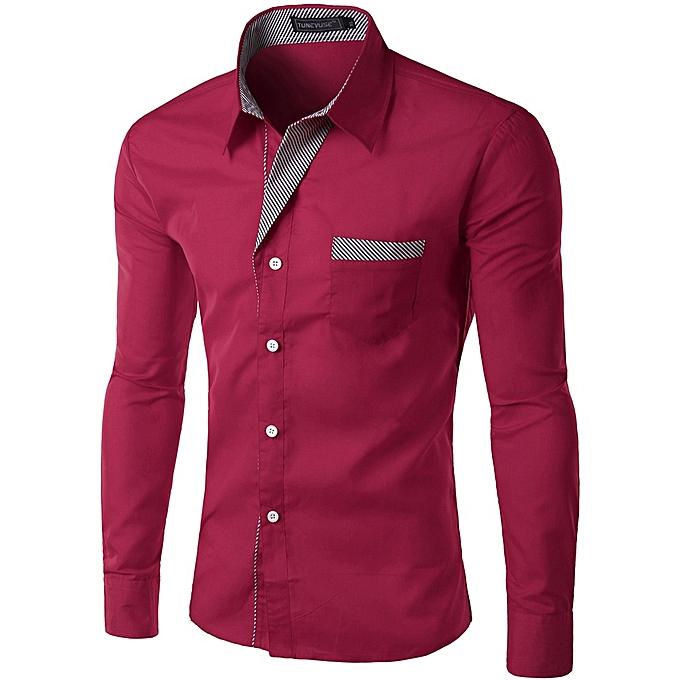 Other nouveau mode Décontracté Hommes& 039;s Slim Fit chemisier manche longue Shirt  -Wine rouge à prix pas cher