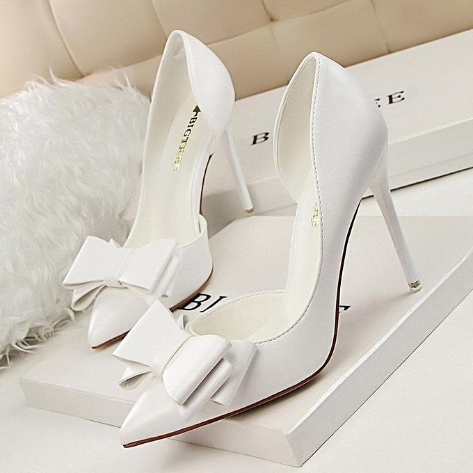OEM Mode sexy mince bouche peu profonde a souligné creux chaussures à talons hauts-blanc à prix pas cher    Jumia Maroc