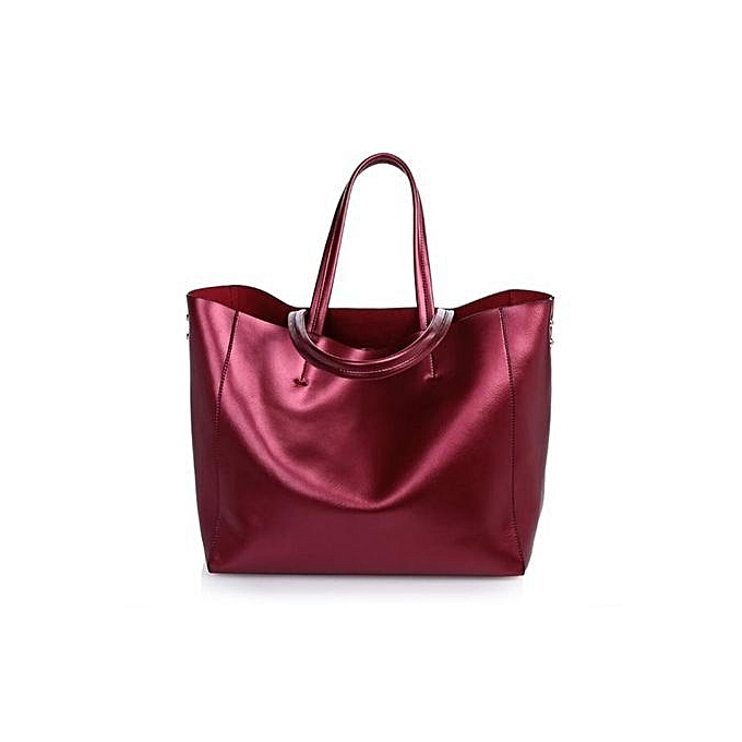Siketu New Fashion Leather Handbag Large Bag Female Leather Shoulder Bag- Wine rouge à prix pas cher