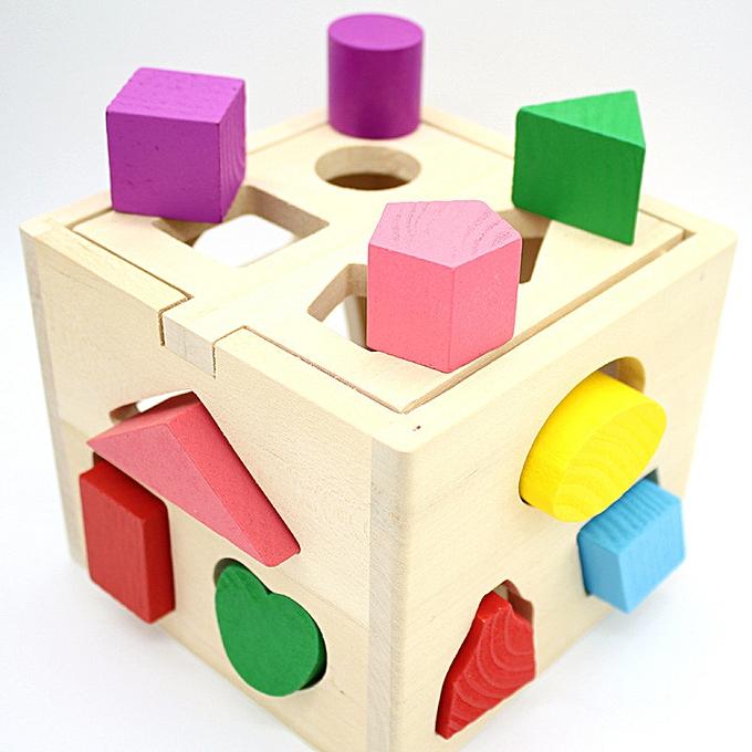 Generic Enfants   boisen Learning Geometry Educational Toys Puzzle 3D IQ Puzzle For Enfants à prix pas cher
