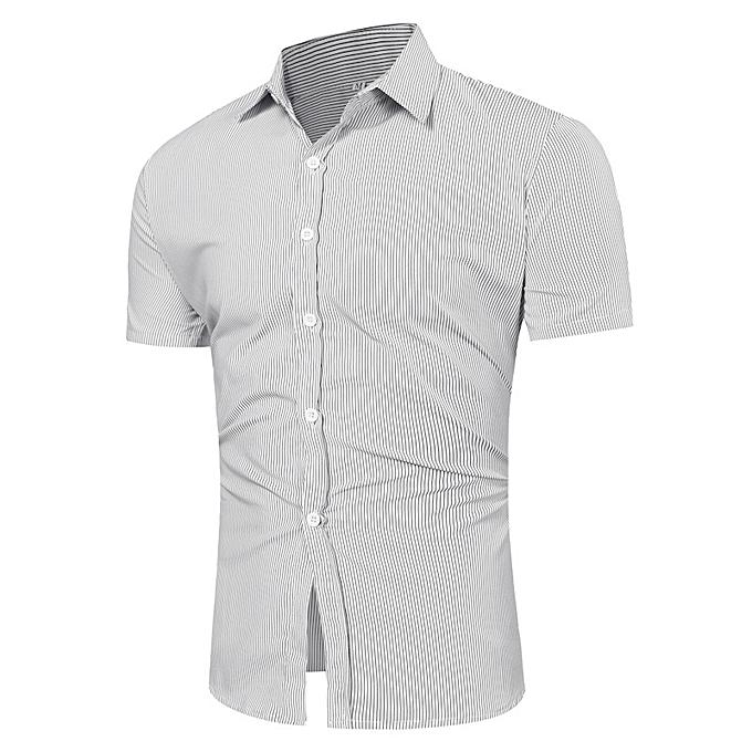 Fashion Mens Fashion Casual vertical Striped Printing Fit Turn Down Collar Shirts à prix pas cher