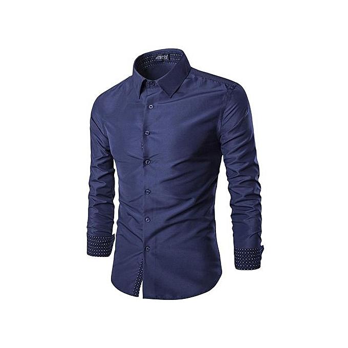 mode Chemise Class Manches Longues Pour Homme - Bleu à prix pas cher