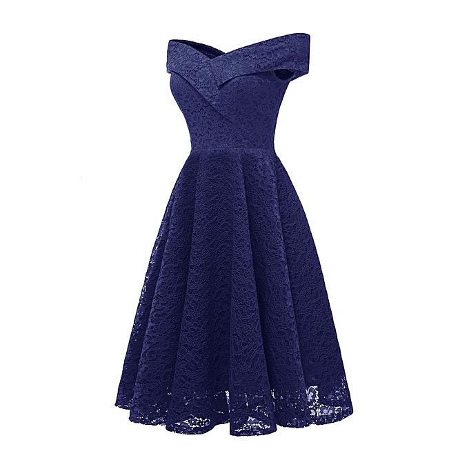 Generic TB femmes V-neck Collar Lace Splicing Sleeveless Elegant Floral Dress CD1610-dark bleu à prix pas cher