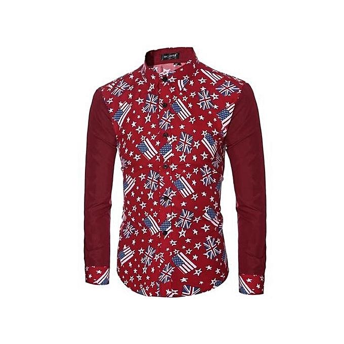 Cuena FFashion Mens Casual Shirts Long Sleeve Slim Fit Printing Tops T-shirt RD XL- rouge   XL à prix pas cher