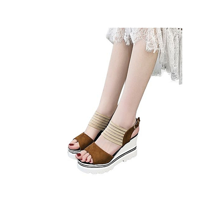 mode Jiahsyc Store femmes Fish Mouth Platform talons hauts Wedge Sandals Buckle Slope Sandals-marron à prix pas cher