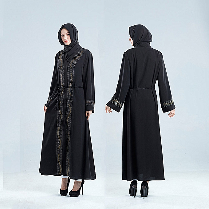 Fashion Hiamok Abaya Dubai Muslim Diamond femmes Open Front Cardigan Embroidery Islamic  Dress à prix pas cher