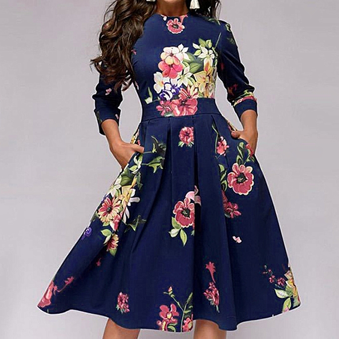 Fashion quanxinhshang femmes Elegent A-line Vintage Printing Party Vestidos Dress à prix pas cher