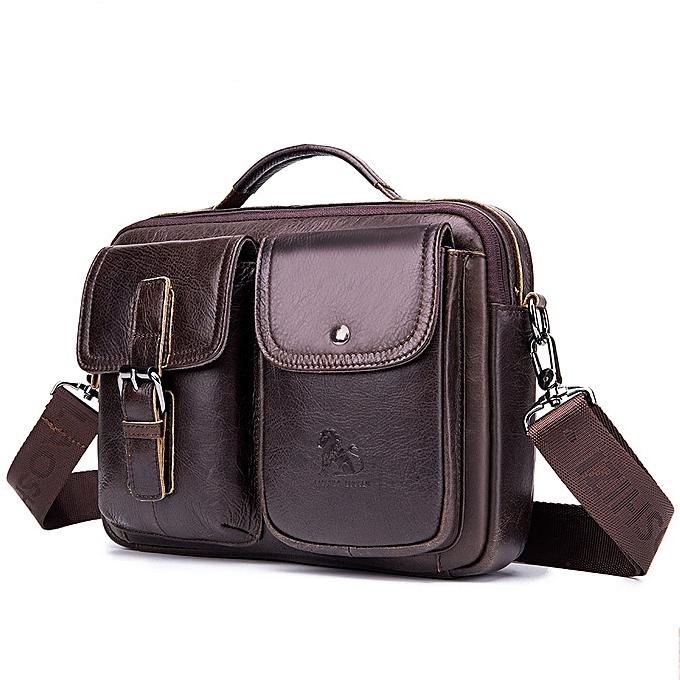 Other BERAGHINI Vintage Men Shoulder Handbags High Quality  Leather Male Patchwork Messenger Bags Male Business Crossbody Bag(Coffee) à prix pas cher