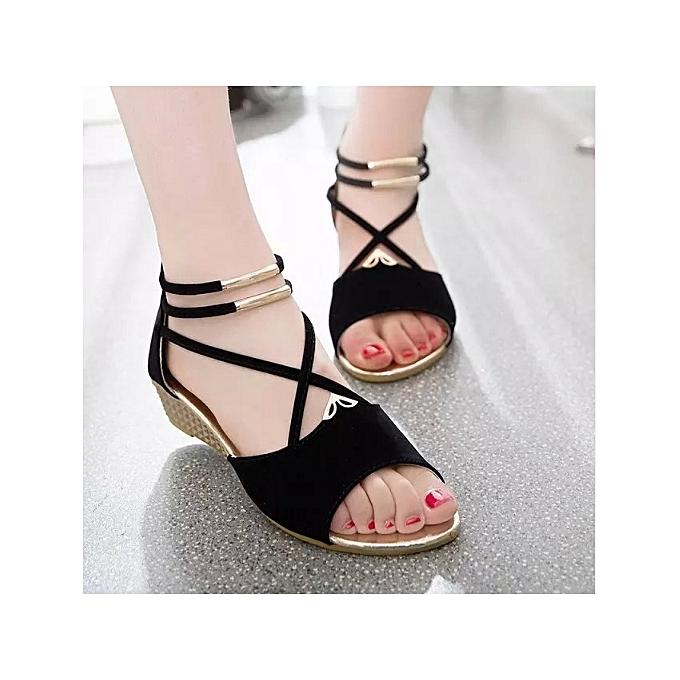 BleuLife femmes Faible Heel Ankle Strap Sandals été respirant Open-Toe chaussures - noir à prix pas cher