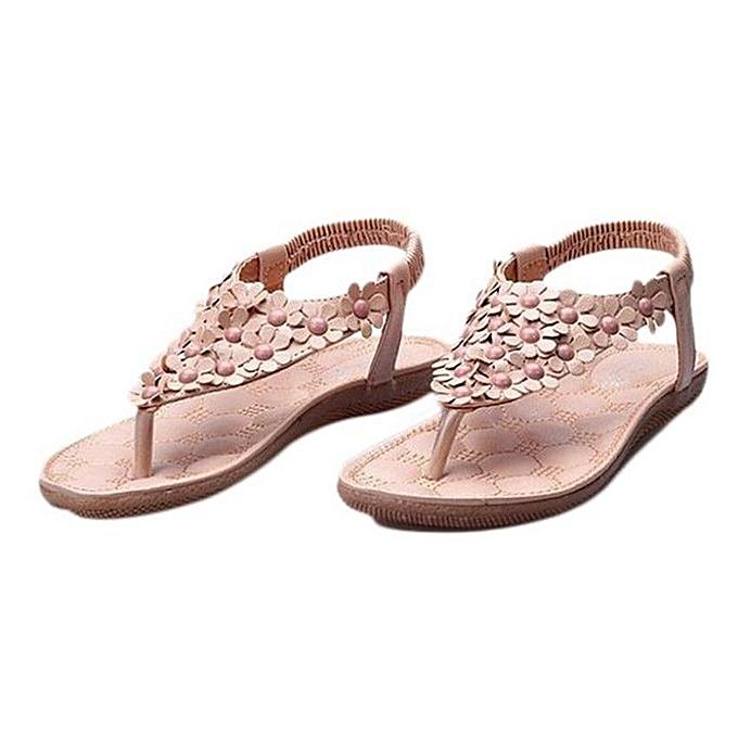 Generic été Bohemia Sweet Beaded Sandals Clip Toe Sandals plage Chaussures -Khaki (EU Sizing) à prix pas cher