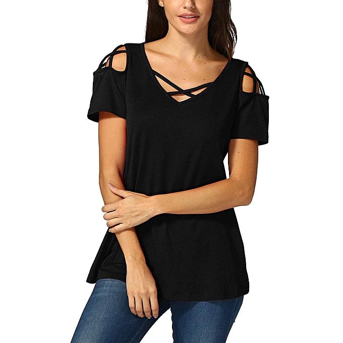 Generic Generic femmes Crisscross V Neck Cold Shoulder hauts Décontracté manche courte T Shirt chemisier  A1 à prix pas cher