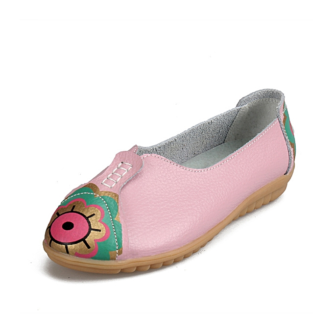 Fashion Sun Eye Flower Pattern Soft Leather Slip-ons Lazy Driving Flat Loafers à prix pas cher    Jumia Maroc