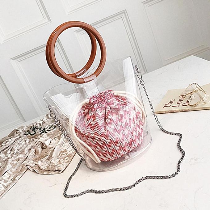 Fashion femmes Transparent Bucket Bag Tote Top Wood Handle Chain Shoulder Bag Handbags à prix pas cher