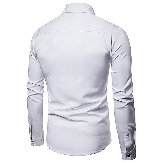 mode jiuhap store Hommes& 039;s Spbague Décontracté Slim Fit Shirts manche longue Button Shirt Top  chemisier à prix pas cher