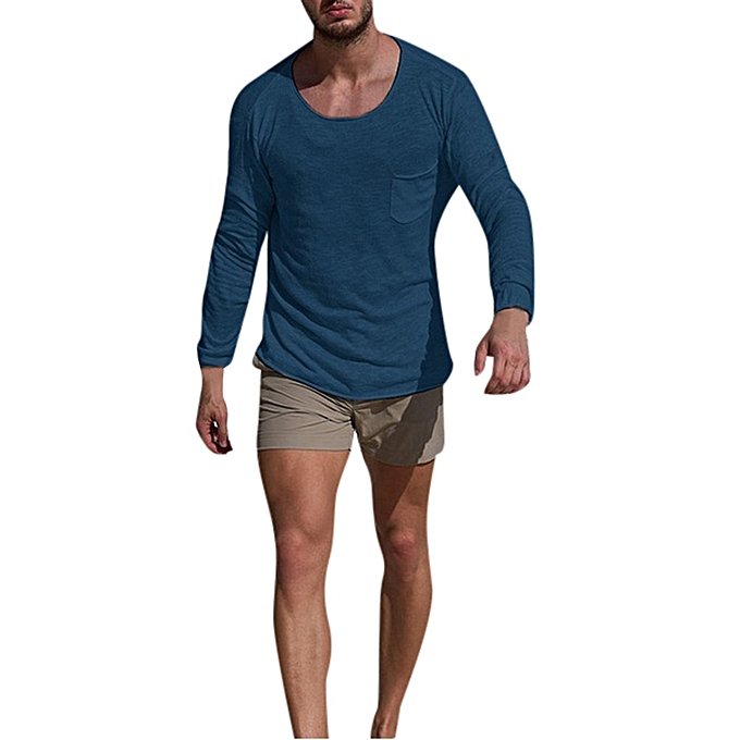 Fashion Men Autumn Winter O Neck Long Sleeve Slim Casual Pocket Tops Blouse Shirts -bleu à prix pas cher