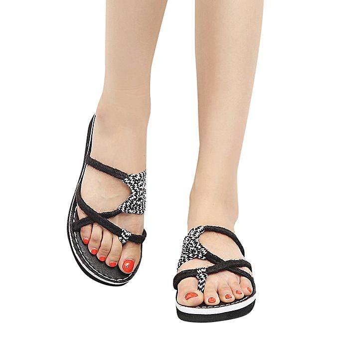 mode Blicool chaussures femmes Ladies été Faible Flat Heel Flip Flops Slippers plage Sandals chaussures noir à prix pas cher
