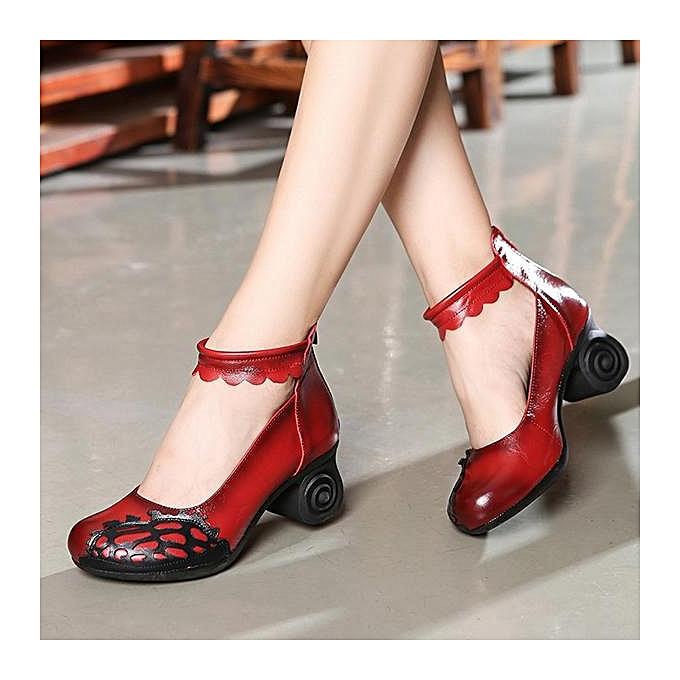 Fashion SOCOFY Retro Handmade Hollow Out Pattern Leather Mid Mid Mid Heel Pumps-EU à prix pas cher  | Jumia Maroc 935b28