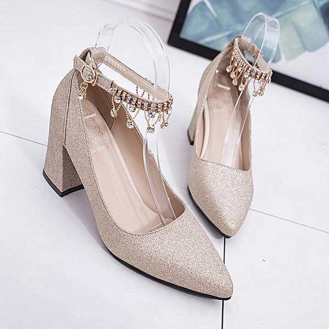 Générique Sedectres Sedectres Générique Fashion High Heels WoHommes  Pumps Shoes Thick Heel Shoes Four Spointed Shoes-Gold à prix pas cher  | Jumia Maroc 259fda