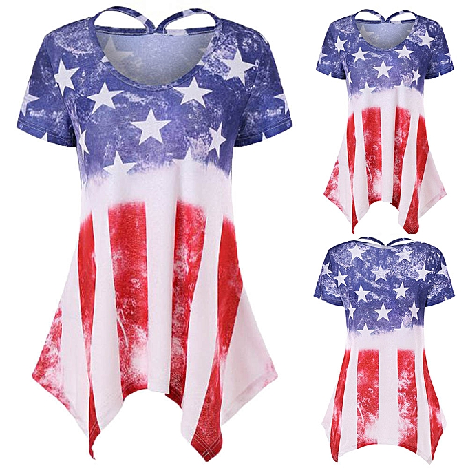 Fashion Africashop Wohommes Summer Loose Short Sleeve Scoop Neck American Flag Print T-Shirt Tops à prix pas cher