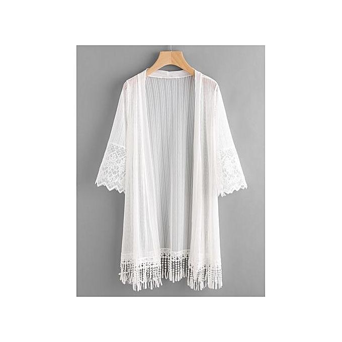 Kimono Hem Fringe Panel Mesh Embroiderouge SHEIN à prix cher