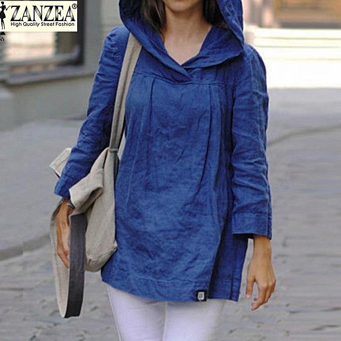 mode ZANZEA femmes hauts Autumn Décontracté Loose encapuchonné bleusas manche longue Vintage Solid Cotton chemisiers Long Shirts Plus Taille (bleu) à prix pas cher
