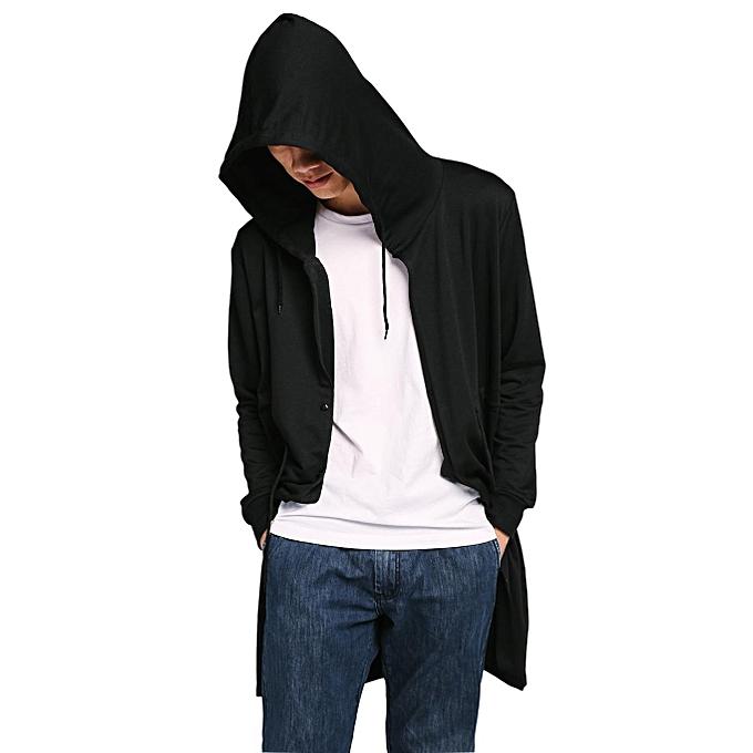 Sunshine Hommes mode Décontracté encapuchonné manche longue Solid Cape Style Button Down Long sweat à capuche-noir à prix pas cher