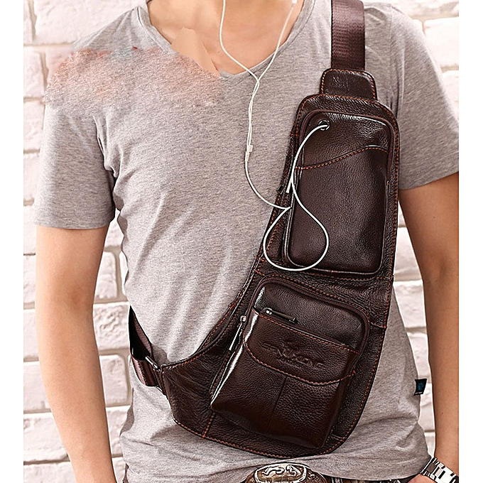 Other 2019 Men's Waterproof Vintage Leather Travel Riding Cross Body Messenger Shoulder Sling Anti-theft Chest Casual Bag(Coffee) à prix pas cher