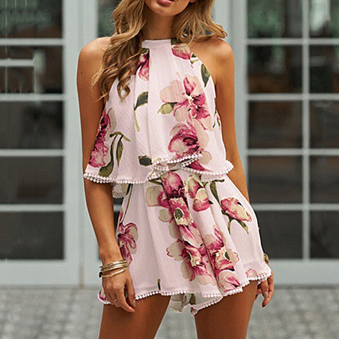 Fashion (Xiuxingzi) femmes Holiday Tassels Playsuit Jumpsuit Summer Floral Blouse Top Shorts PK L à prix pas cher