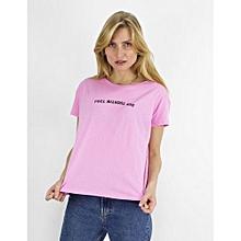 t shirt imprim 100 coton rose - Fabriquer Un Meuble Tv2533