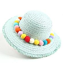 New Baby Children Kids Girls Handmade Hat Wide Brim Summer Beach Sun Straw  Cap - Light ef89534763c3