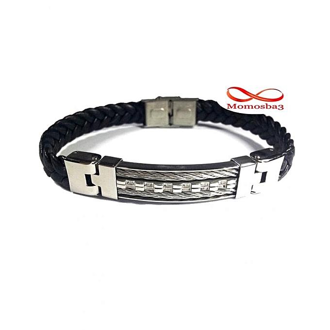 1651b25c9f9f8 Bracelet En Cuir Noir Tressé Avec Plaque Argenté + Fermoir En Acier  Inoxydable