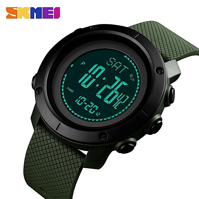 Other SKMEI New Men Sports Watches Digital Calorie Watch Altimeter Thermometer Mountaineering femmes Waterproof Outdoor Wristwatches 1418 1427 (vert) MQSHOP à prix pas cher