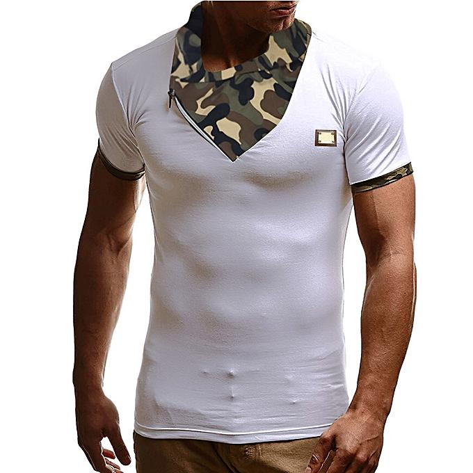 Fashion Fashion Personality Camouflage Men's Casual Slim Short-sleeved Shirt Top Blouse  -blanc à prix pas cher