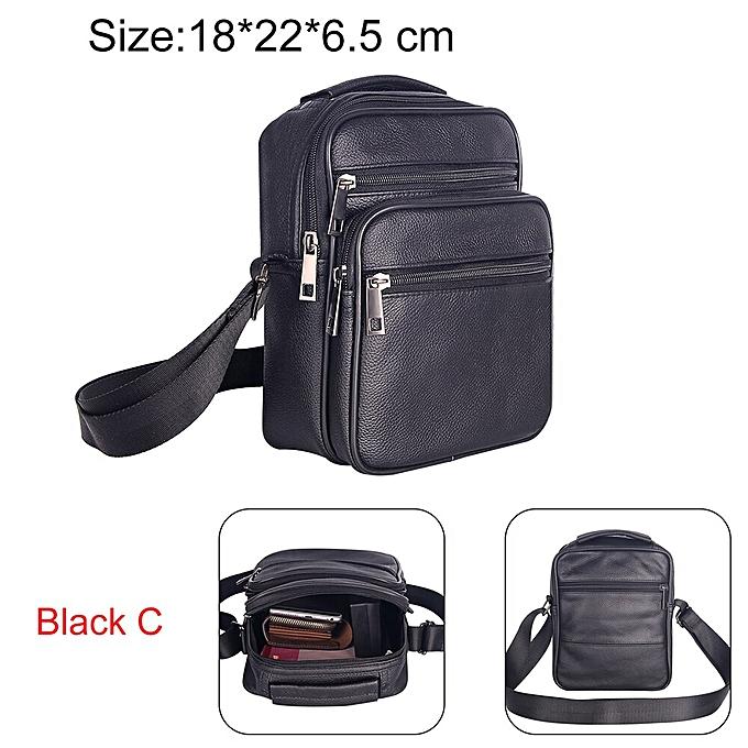Other Cow Leather Men Business Messenger Bag Zipper Design Solid Crossbody Bags Mens Large Capacity noir Shoulder Bag for Man(noir C) à prix pas cher