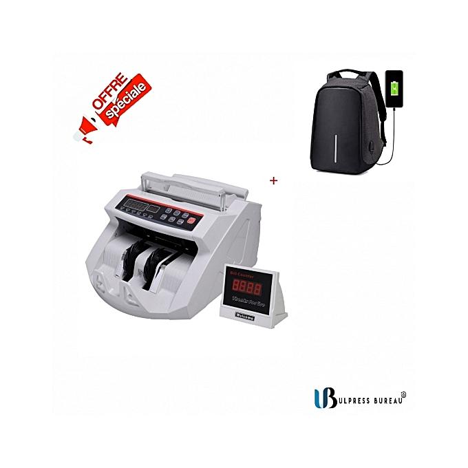Generic Compteuse De Billets Valorisatrice UV MG Détection Des Faux Billets Avec LED Affichage UV MG 2108 + sac a  dos anti-vol noir à prix pas cher