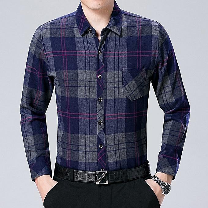 Other nouveau mode Hommes chemisier Libre Ironing Lattice manche longue Shirt hauts à prix pas cher
