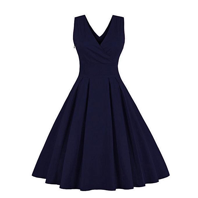 mode schoolcool femmes  Deep V Neck Vintage Gown Sleeveless Party Prom Swing Robe à prix pas cher