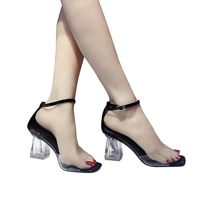 Fashion Fashion femmes Transparent Sandals Ankle talons hauts Block Party Open Toe chaussures - à prix pas cher    Jumia Maroc