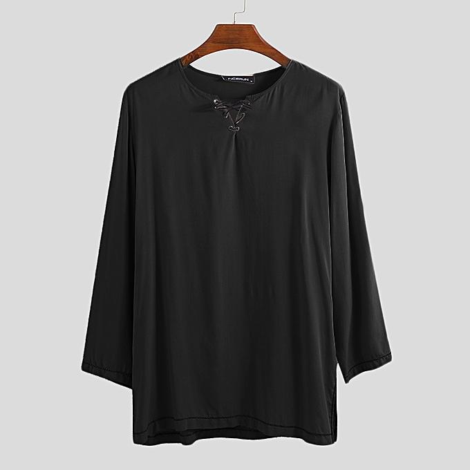 Fashion Mens Long Sleeve Linen Tops à prix pas cher