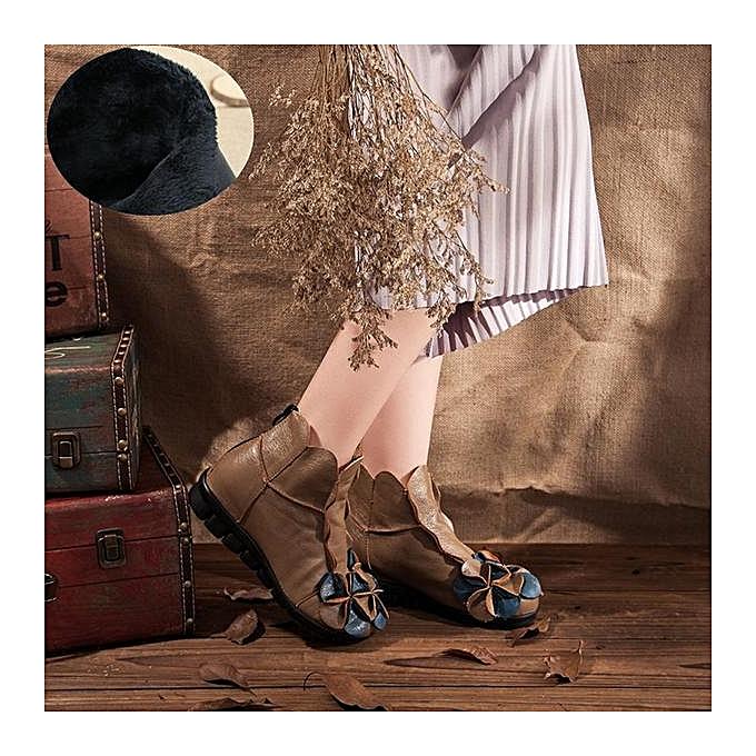 Fashion Fashion Fashion SOCOFY Fashion WoHommes  Flower Soft Leather Ankle Vintage Zipper Flat Boots à prix pas cher  | Jumia Maroc 46a8cf