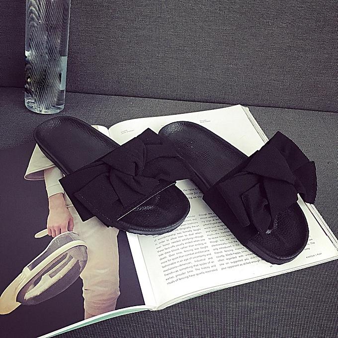 Fashion (Xiuxingzi) Summer femmes Bow Wedge Sandals Beach chaussures Flip Flops Platform Slippers BK 35 à prix pas cher